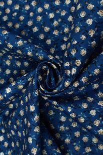 DKB P 045 Bavlněné plátno tmavě modré - růžičky