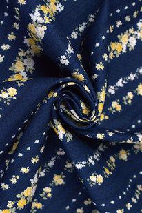 DKB P 060 Bavlněné plátno tm. modré - růže v pruzích