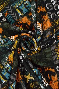 MAX 1671 FRENCH TERRY OEKO-TEX černo-oranžová s nápisy