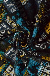 MAX 1672 FRENCH TERRY OEKO-TEX  černo-žlutá s nápisy